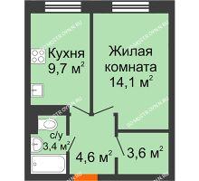 1 комнатная квартира 35,4 м² в ЖК Жюль Верн, дом № 1 корпус 2