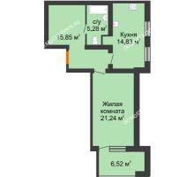 1 комнатная квартира 60,46 м² в ЖК Свобода, дом 2 очередь - планировка