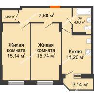 2 комнатная квартира 56,58 м² в ЖК Свобода, дом № 1 - планировка