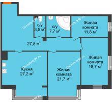 3 комнатная квартира 118,4 м², Клубный дом Green Вита (Грин Вита) - планировка