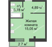 Студия 25,52 м² в ЖК Тридесятое, дом № 19 - планировка