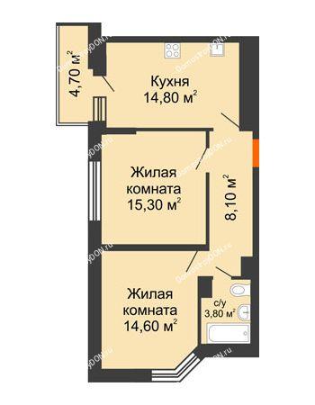 2 комнатная квартира 59 м² в ЖК Династия, дом Литер 2