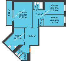 3 комнатная квартира 102,29 м², ЖК Новая Тверская - планировка