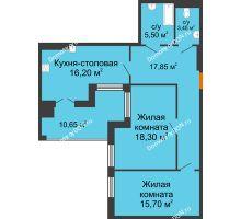 3 комнатная квартира 87,65 м² в ЖК Симфония, дом 3 этап - планировка
