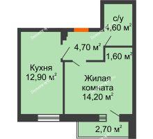 1 комнатная квартира 39,4 м², ЖК Дом на Курчатова - планировка
