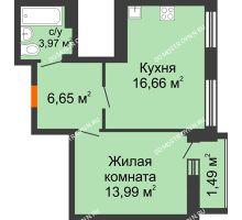 1 комнатная квартира 42,76 м² в ЖК Дом с террасами, дом № 6 - планировка