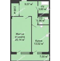 1 комнатная квартира 54,2 м² в  ЖК РИИЖТский Уют, дом Секция 1-2 - планировка