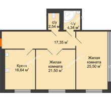 2 комнатная квартира 87,87 м², Жилой дом на ул. Платонова, 9,11 - планировка