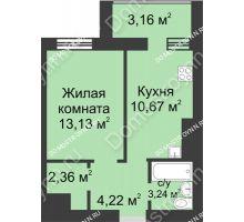 1 комнатная квартира 36,78 м² - ЖК Буревестник