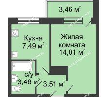 1 комнатная квартира 30,2 м² в ЖК Удачный, дом № 4