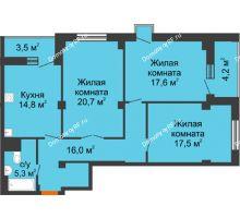 3 комнатная квартира 96,1 м², ЖК Вершина - планировка