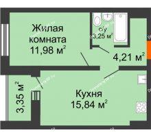 1 комнатная квартира 36,96 м², ЖК Инстеп.Победа - планировка