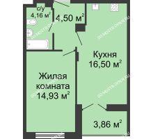 1 комнатная квартира 42,02 м² в ЖК Клевер, дом № 1